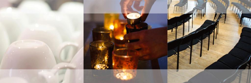 kaffekoppar, ljus, stolar