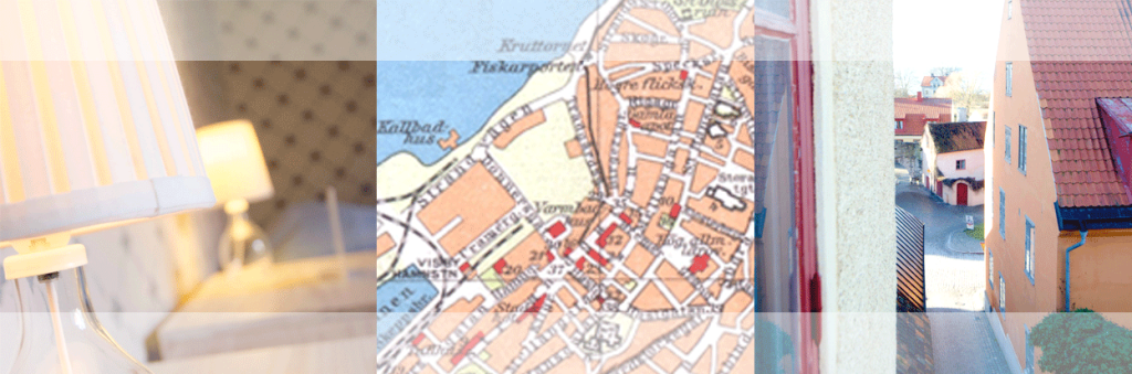 lampa, karta av Visby, utsikt